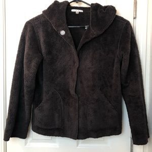 CAbi Snap Front Hooded Teddy Jacket